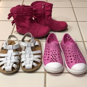 Other - 3 pair Lot Toddler girl shoes sandals & boots sz 7